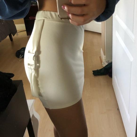 PrettyLittleThing Dresses & Skirts - Cream Buckle Detail Mini Skirt